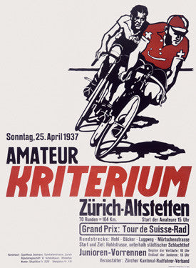 Swiss Kriterium Bicycle Race Ad Fine Art Print