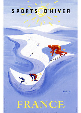 Snow Ski France Travel Ad Fine Art Print
