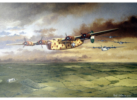 WWII AAF B-24D Consolidated Bomber by Paul Wollman Fine Art Print