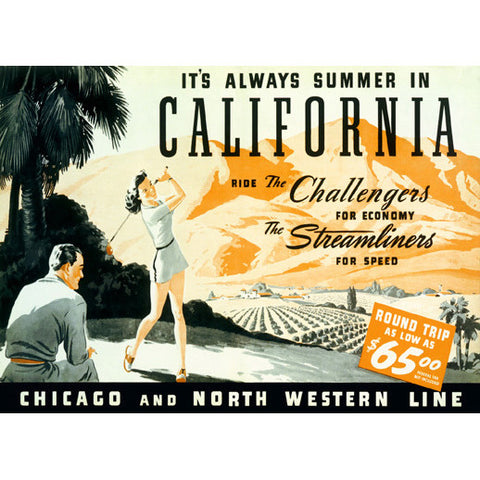 Union Pacific California Summer Poster Wood Sign