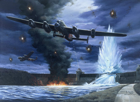 Lanaster Dam Buster Bomber Aviation by Carlos Garcia Fine Art Print