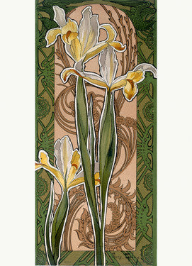 Golay Nouveau Iris Flower by Mary Golay Fine Art Print