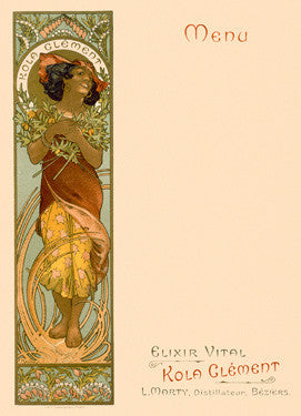 Kola Clement Menu by Alphonse Mucha Fine Art Print