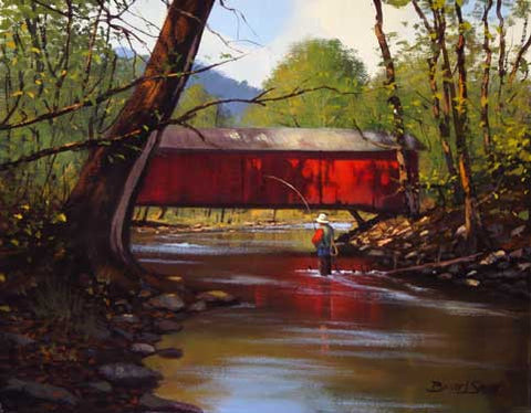 Red Covered Bridge by Brett James Smith Fine Art Print