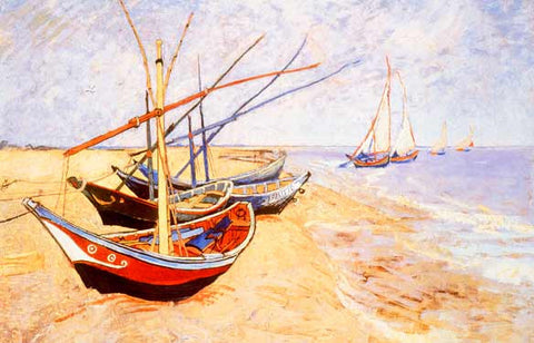 Fishing Boats on Beach by Vincent Van Gogh Fine Art Print