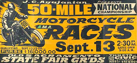 Old Sacramento State Fair Grounds Motorcycle Races Ad Fine Art Print