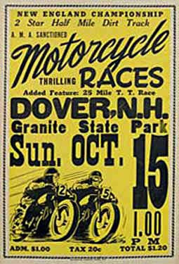 Dover, NH Motorcycle Races Ad Fine Art Print