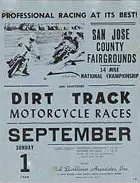 San Jose County Fairgrounds Mile Motorcycle Races Ad Fine Art Print