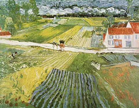 Landscape with Carriage & Train by Vincent Van Gogh Fine Art Print