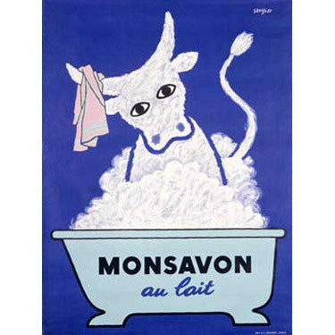 Monsavon Au Lait by Artist Raymond Savignac Wood Sign