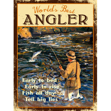 World's Best Angler Wood Sign