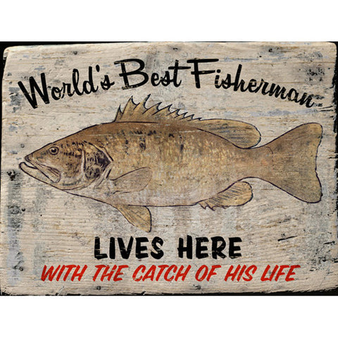 Personalized World's Best Fisherman Wood Sign