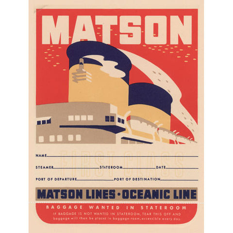 Matson Lines Oceanic Line Wood Sign