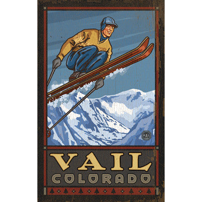 Personalized Skier In Air Wood Sign
