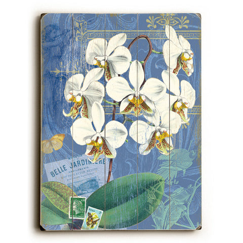 White Orchid by Artist Cory Steffen Wood Sign