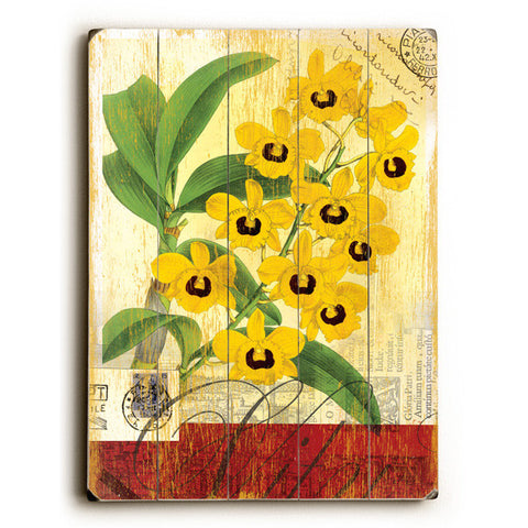 Yellow Orchid by Artist Cory Steffen Wood Sign