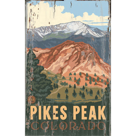 Personalized Pikes Peak Colorado Wood Sign