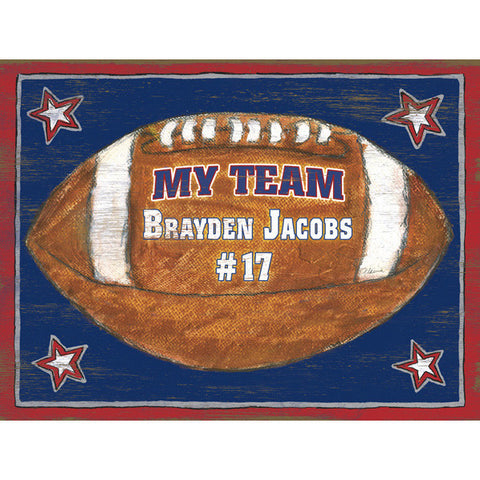 Personalized Kids Football Wood Sign