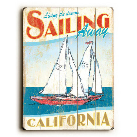 California Sailing Wood Sign