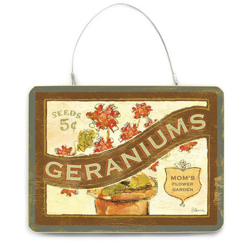 Personalized Geraniums Wood Sign