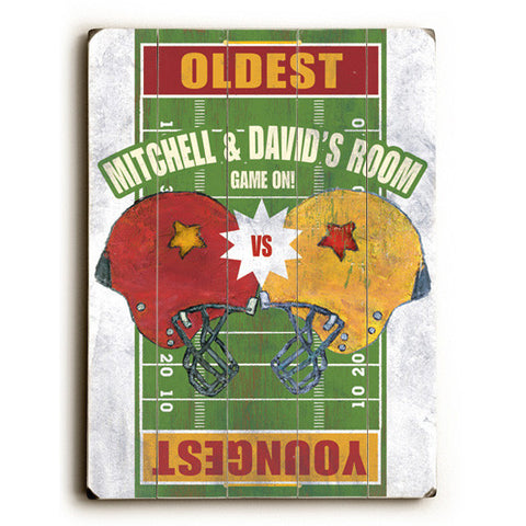 Personalized Boy's Room Football Game On Wood Sign