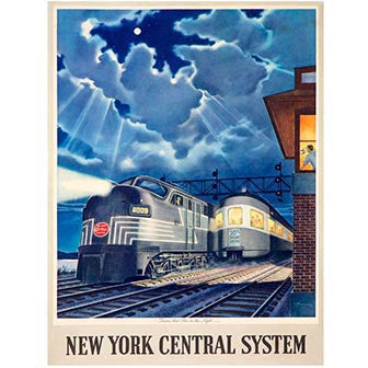 New York Central Train System Wood Sign