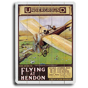 Flying At Hendon Aviation Poster Wood Sign