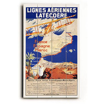 Lignes Aeriennes Latecoere Aviation Poster Wood Sign