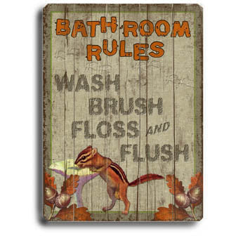 Bathroom Rules by Artist Kate Ward Wood Sign