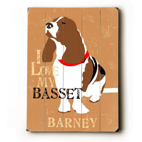 Personalized Love My Basset Wood Sign