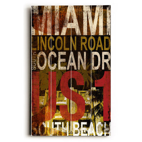 Miami Ocean Dr by Artist Cory Steffen Wood Sign
