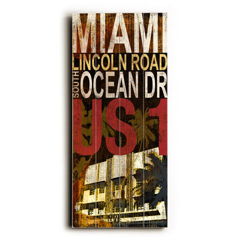 Miami South Beach by Artist Cory Steffen Wood Sign