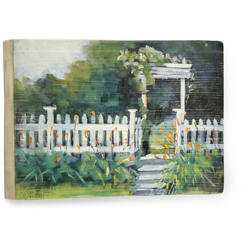 White Picket Fence by Artist Carol Schiff Wood Sign