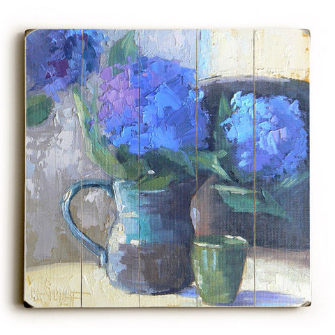 Blue Flower Spout by Artist Carol Schiff Wood Sign