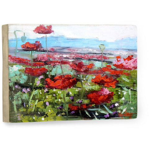 Red Poppies by Artist Carol Schiff Wood Sign