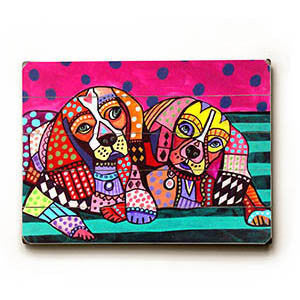 Colorful Puppies by Artist Heather Diamond Wood Sign