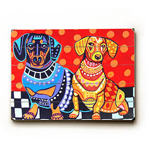 Colorful Dachshunds by Artist Heather Diamond Wood Sign