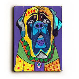 Colorful Hound by Artist Heather Diamond Wood Sign