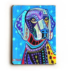 Blue Hound by Artist Heather Diamond Wood Sign