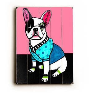 Pink Bull Terrier by Artist Heather Diamond Wood Sign
