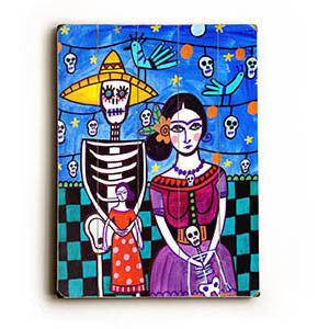 Skeleton Fiesta Couple by Artist Heather Diamond Wood Sign