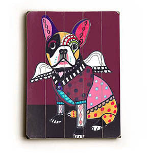 Bull Terrier Angel by Artist Heather Diamond Wood Sign