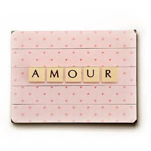 Amour by Artist Vanessa Fahmy Wood Sign