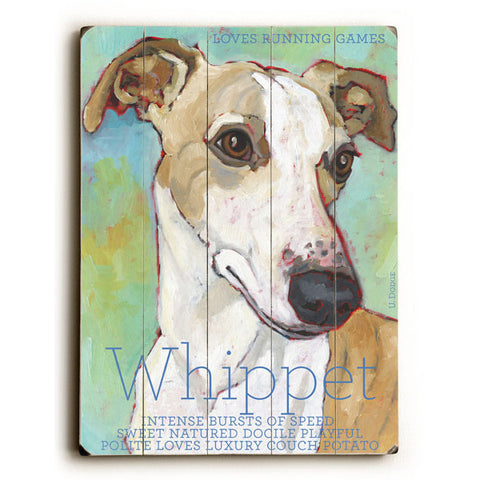 Whippet by Artist Ursula Dodge Wood Sign