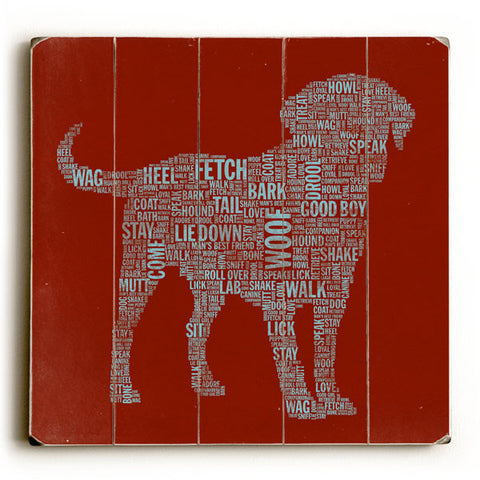 Red Dog Typography by Artist Stella Bradley Wood Sign