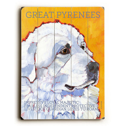Great Pyrenees by Artist Ursula Dodge Wood Sign
