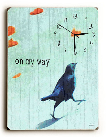 On My Way Wall Clock by Artist Lisa Weedn