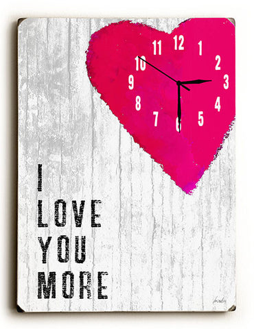 I Love You More Wall Clock by Artist Lisa Weedn
