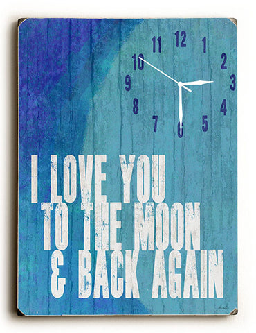 I Love You to the Moon Wall Clock by Artist Lisa Weedn