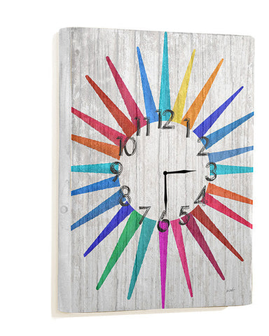 Multi Color Sun Pattern Wall Clock by Artist Lisa Weedn